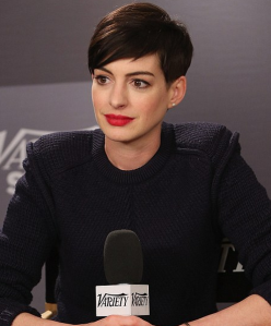 The classic red lip as sported by Ms. Hathaway
